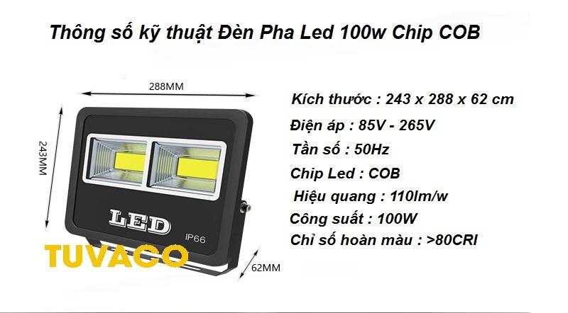 Đèn Pha Led 100w Chip COB ngoài trời